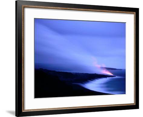 Lava Flow at Dusk, Volcanoes National Park, Hawaii, Hawaii-Holger Leue-Framed Art Print