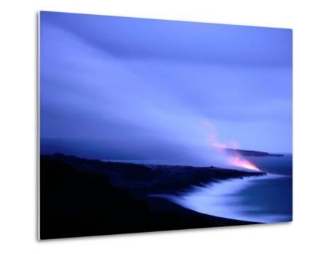 Lava Flow at Dusk, Volcanoes National Park, Hawaii, Hawaii-Holger Leue-Metal Print