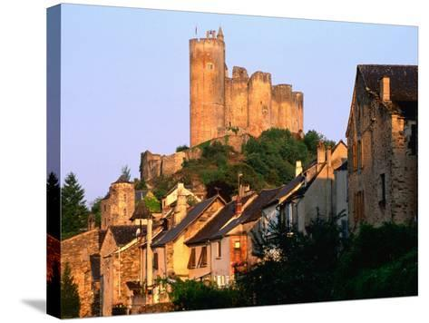 Castle Towering Above Village Houses, Aveyron Region, Najac, Midi-Pyrenees, France-David Tomlinson-Stretched Canvas Print