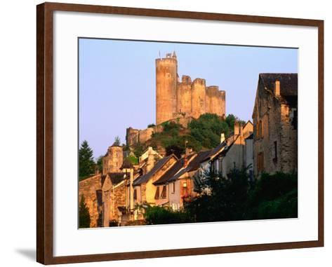 Castle Towering Above Village Houses, Aveyron Region, Najac, Midi-Pyrenees, France-David Tomlinson-Framed Art Print