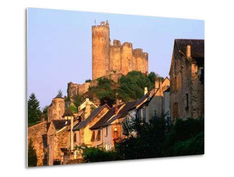 Castle Towering Above Village Houses, Aveyron Region, Najac, Midi-Pyrenees, France-David Tomlinson-Metal Print
