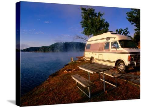 Campervan Parked Beside Lake, Ozark National Park, Missouri-John Elk III-Stretched Canvas Print