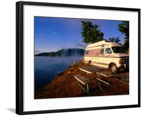 Campervan Parked Beside Lake, Ozark National Park, Missouri-John Elk III-Framed Art Print