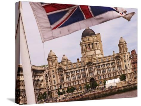Port of Liverpool Building from the Mersey Ferry, Liverpool, England-Glenn Beanland-Stretched Canvas Print