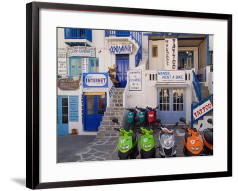 Motorbikes Parked Outside Shops-Diana Mayfield-Framed Art Print