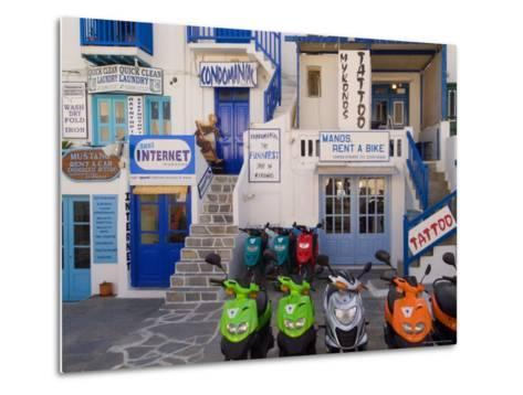 Motorbikes Parked Outside Shops-Diana Mayfield-Metal Print