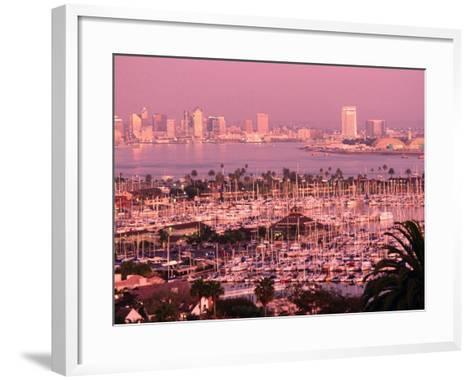 Downtown Skyline at Sunset, San Diego, California-John Elk III-Framed Art Print