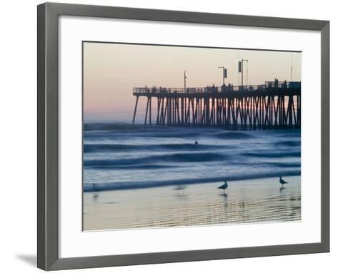 Pier at Sunset, Pismo Beach, California-Brent Winebrenner-Framed Art Print