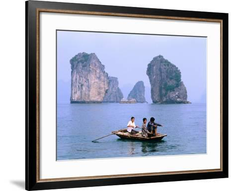 People Fishing in Small Boat with Karsts in Background, Ha Long, Bac Giang, Vietnam-Christopher Groenhout-Framed Art Print