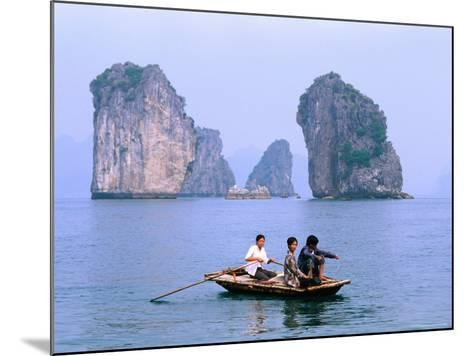 People Fishing in Small Boat with Karsts in Background, Ha Long, Bac Giang, Vietnam-Christopher Groenhout-Mounted Photographic Print