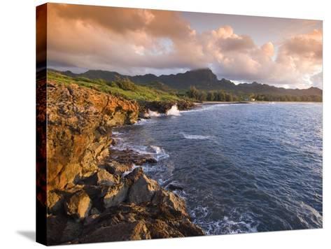 Poipu Beach, Cliffs, Kauai, Hawaii-John Elk III-Stretched Canvas Print