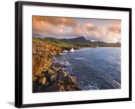 Poipu Beach, Cliffs, Kauai, Hawaii-John Elk III-Framed Art Print