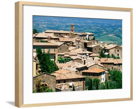 Hilltop Village of Montalcino Perched Above Val d'Orcia, Tuscany, Italy-David Tomlinson-Framed Art Print