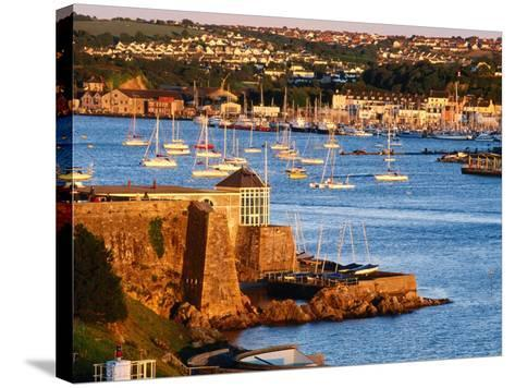 Entrance to Sutton Harbour at Sunset, Plymouth, England-David Tomlinson-Stretched Canvas Print