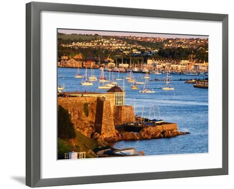 Entrance to Sutton Harbour at Sunset, Plymouth, England-David Tomlinson-Framed Art Print