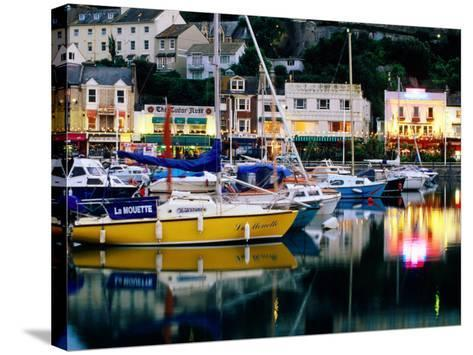 Lights and Yachts Reflected in Harbour at Dusk, Torquay, Torbay, England-David Tomlinson-Stretched Canvas Print