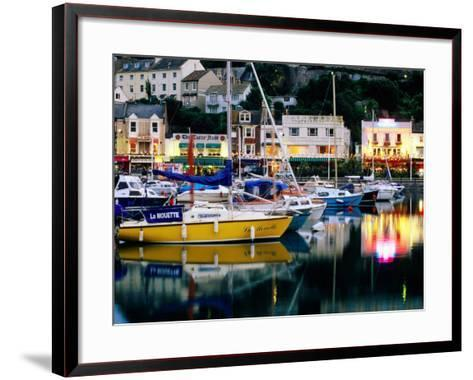 Lights and Yachts Reflected in Harbour at Dusk, Torquay, Torbay, England-David Tomlinson-Framed Art Print
