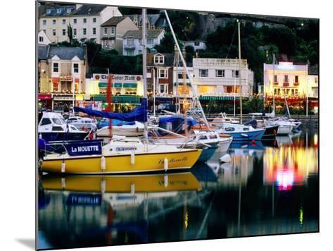 Lights and Yachts Reflected in Harbour at Dusk, Torquay, Torbay, England-David Tomlinson-Mounted Photographic Print