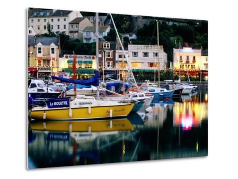 Lights and Yachts Reflected in Harbour at Dusk, Torquay, Torbay, England-David Tomlinson-Metal Print