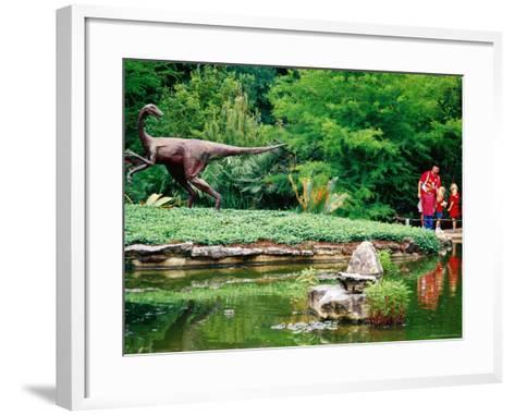 Children and Adult Standing near Ornithomimus Dinosaur Sculpture, Austin, Texas-Richard Cummins-Framed Art Print