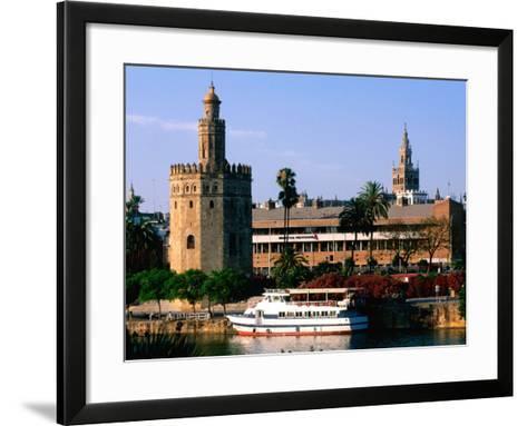 Boat on River in Front of Torre del Oro, Sevilla, Andalucia, Spain-John Elk III-Framed Art Print