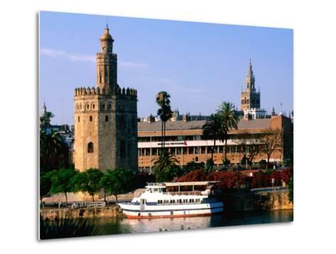 Boat on River in Front of Torre del Oro, Sevilla, Andalucia, Spain-John Elk III-Metal Print