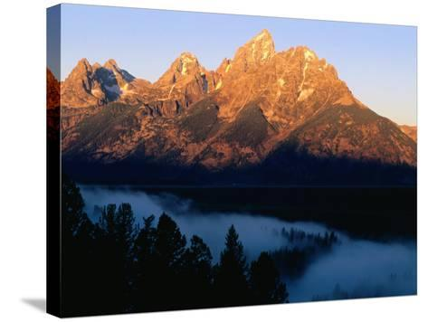 Grand Teton at Sunrise, from Snake River Overlook, Grand Teton National Park, Wyoming-Holger Leue-Stretched Canvas Print