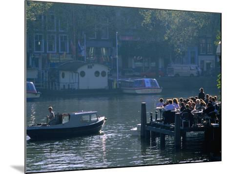 Outdoor Cafe on Canal, Amsterdam, North Holland, Netherlands-Thomas Winz-Mounted Photographic Print