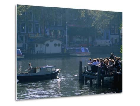 Outdoor Cafe on Canal, Amsterdam, North Holland, Netherlands-Thomas Winz-Metal Print