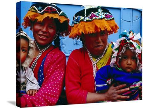 Two Mothers with Children in Traditional Colourful Clothing, Pisac, Cuzco, Peru-Jeffrey Becom-Stretched Canvas Print