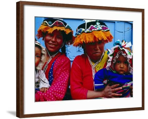 Two Mothers with Children in Traditional Colourful Clothing, Pisac, Cuzco, Peru-Jeffrey Becom-Framed Art Print