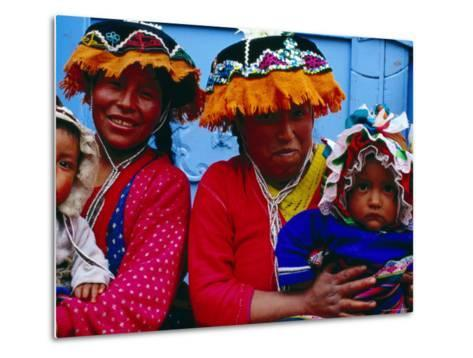 Two Mothers with Children in Traditional Colourful Clothing, Pisac, Cuzco, Peru-Jeffrey Becom-Metal Print
