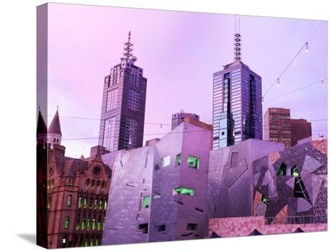 Federation Square at Dusk, Melbourne, Victoria, Australia-John Banagan-Stretched Canvas Print