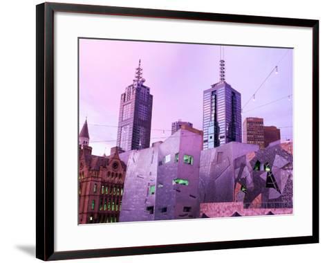 Federation Square at Dusk, Melbourne, Victoria, Australia-John Banagan-Framed Art Print