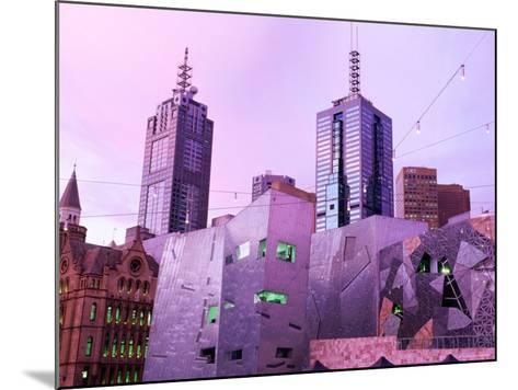 Federation Square at Dusk, Melbourne, Victoria, Australia-John Banagan-Mounted Photographic Print