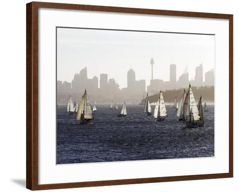 Yachts on Sydney Harbour in Late Afternoon-Oliver Strewe-Framed Art Print