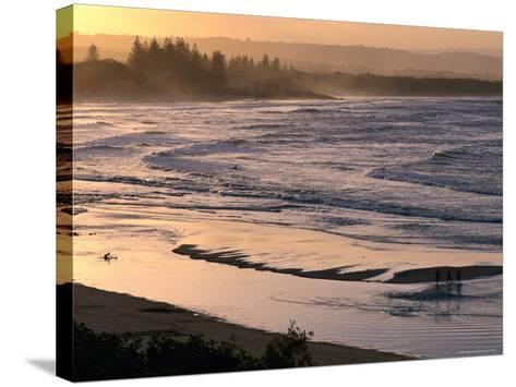 Sunset over Main Beach, Byron Bay, New South Wales, Australia-Michael Gebicki-Stretched Canvas Print