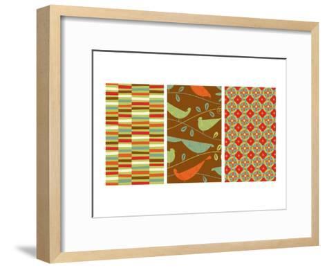 Retro Birds Triptych--Framed Art Print