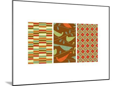 Retro Birds Triptych--Mounted Photo