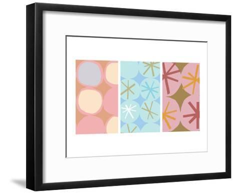 Stars and Circles Triptych--Framed Art Print