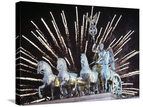 New Year's Fireworks above the Quadriga at the Brandenburg Gate in Berlin, Germany, c.2007-Michael Sohn-Stretched Canvas Print