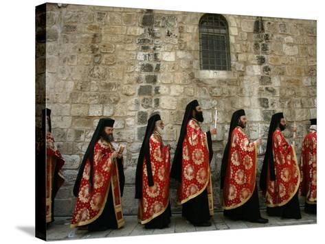 Greek Orthodox Bishops at Easter Mass, Jerusalem, Israel-Emilio Morenatti-Stretched Canvas Print