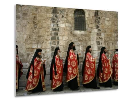 Greek Orthodox Bishops at Easter Mass, Jerusalem, Israel-Emilio Morenatti-Metal Print