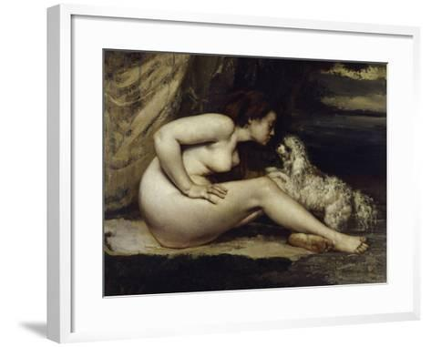 Nude with Dog, c.1861-Gustave Courbet-Framed Art Print
