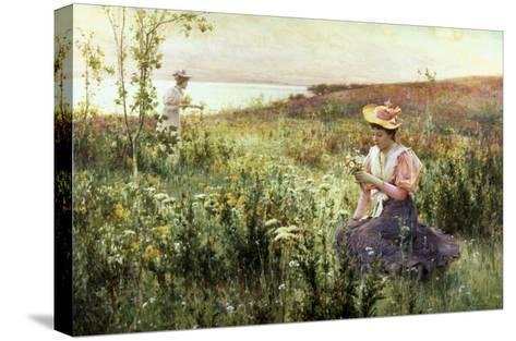 Gathering Wild Flowers-Alfred Augustus Glendenning-Stretched Canvas Print