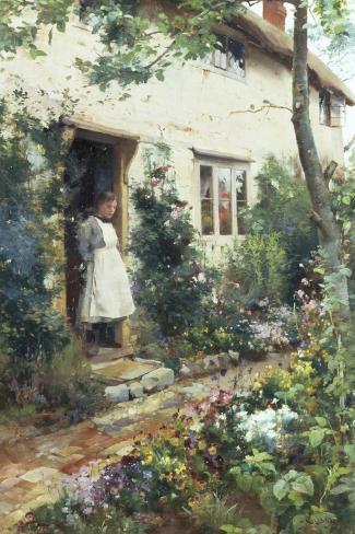 Pretty Cottage Garden-Alfred Augustus Glendenning-Stretched Canvas Print