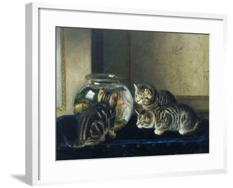 Three Kittens Watching Goldfish-Horatio Henry Couldery-Framed Art Print