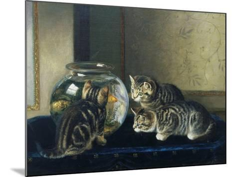 Three Kittens Watching Goldfish-Horatio Henry Couldery-Mounted Giclee Print