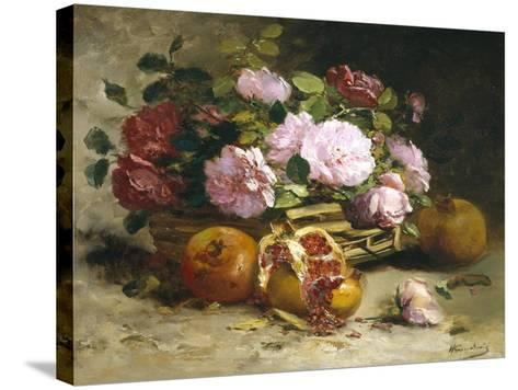 Still Life of Roses and Pomegranates-Eugene Henri Cauchois-Stretched Canvas Print