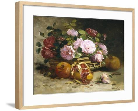 Still Life of Roses and Pomegranates-Eugene Henri Cauchois-Framed Art Print